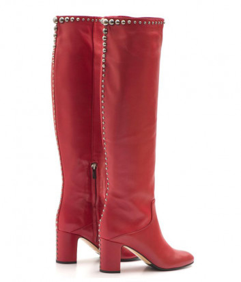 Терракотовые кожаные сапоги Nina Lilou 282756 с декором