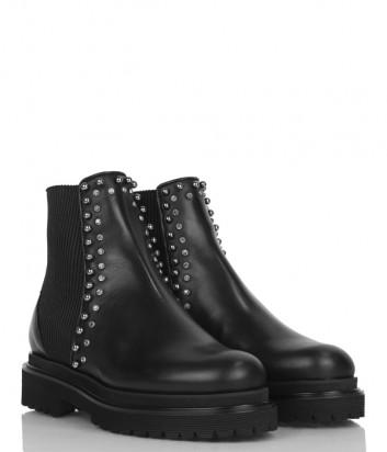 Черные кожаные ботинки Nina Lilou 282689 с эластичными вставками