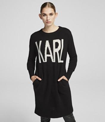 Длинный джемпер Karl Lagerfeld 96KW2012 черный с надписями
