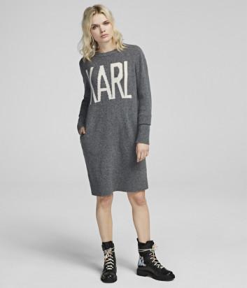 Длинный джемпер Karl Lagerfeld 96KW2012 серый с надписями