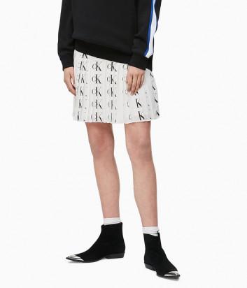 Плиссированная юбка Calvin Klein J212527 белая с логотипом