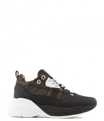 Кожаные кроссовки Alexander Smith 73596 с принтом в клетку