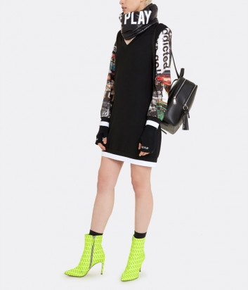 Черное мини-платье ICE PLAY H011P520 с цветными пайетками на рукавах