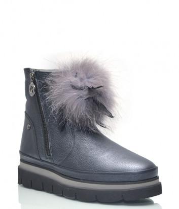 Кожаные ботинки Lab Milano 10505 на меху синие