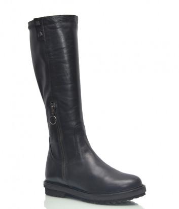 Черные кожаные сапоги Lab Milano 6762 с внешней и внутренней молнией