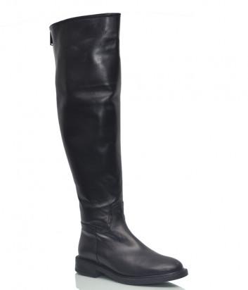 Кожаные ботфорты Loretta Pettinari 14553 на меху черные