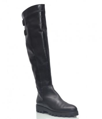 Кожаные ботфорты Conni 7101 на меху черные