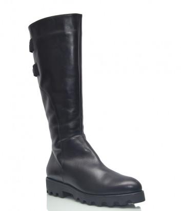 Кожаные сапоги Conni 7102 на меху черные
