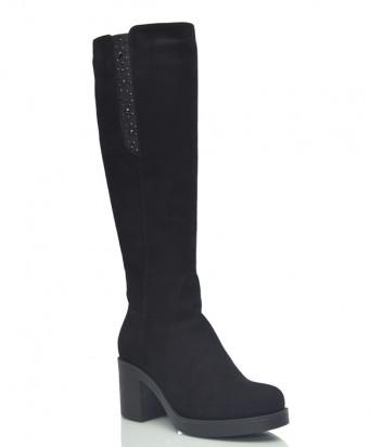 Замшевые сапоги Conni 7110 на широком каблуке черные