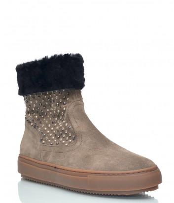 Замшевые ботинки Repo 26305 на меху бежевые с декором