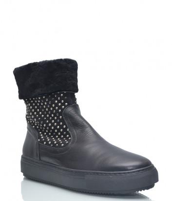 Кожаные ботинки Repo 26305 на меху черные с декором