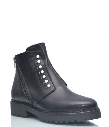 Кожаные ботинки Repo 12239 на меху черные