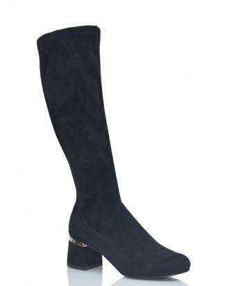 Замшевые сапоги Nila & Nila 2559 на квадратном каблуке черные