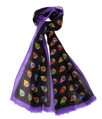 Женский шарф Moschino 3317 черно-фиолетовый