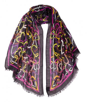 Женский шарф Moschino Boutique 03379 черный в сердцах