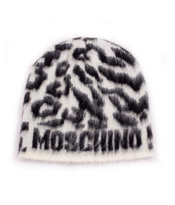 Женская шапка Moschino 65176 черно-белая