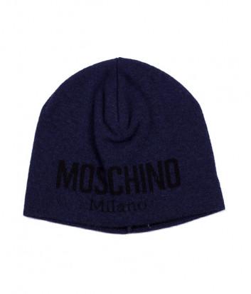 Мужская шапка Moschino 60046 темно-синяя