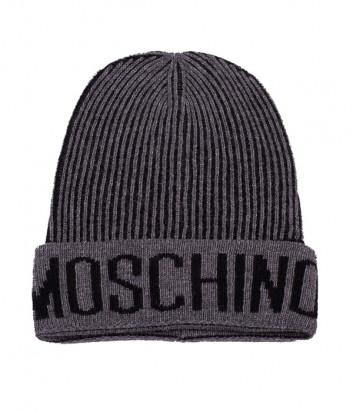 Мужская шапка Moschino 60051 темно-серая