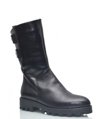 Кожаные полусапоги Conni 7103 на меху черные