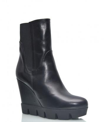 Кожаные ботинки Conni 7116 на платформе черные