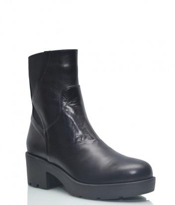 Кожаные ботинки Conni 7125 на широком каблуке черные