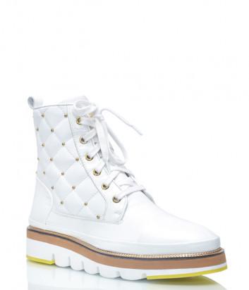 Кожаные ботинки Lab Milano 21127 на меху белые