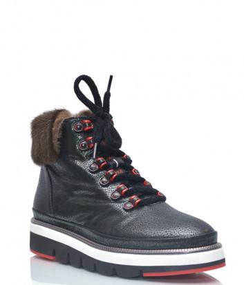 Кожаные ботинки Lab Milano 21126 на меху темно-зеленые