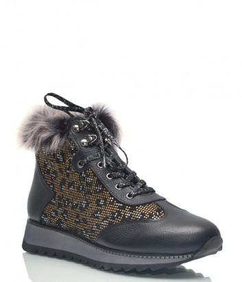 Кожаные ботинки Lab Milano 48602 черные с узором