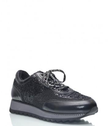 Кожаные кроссовки Lab Milano 48601 на меху черные