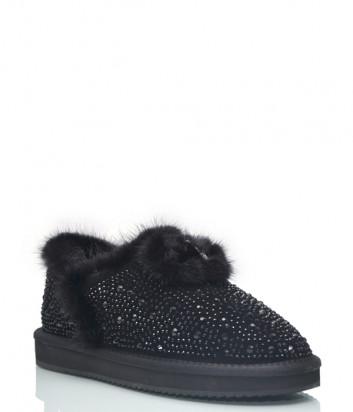 Замшевые ботинки Lab Milano 009 на меху черные с декором