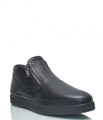 Кожаные ботинки Giampiero Nicola 38624 на меху черные