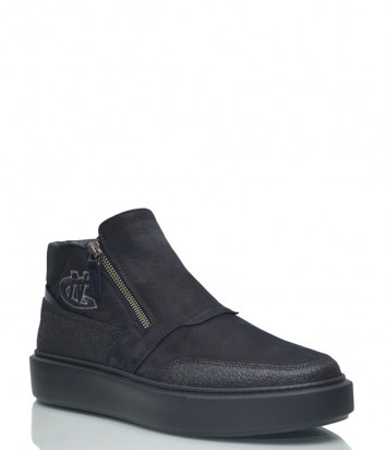 Кожаные ботинки Giampiero Nicola 16204 на меху черные