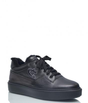 Кожаные кроссовки Giampiero Nicola 166104 на меху черные