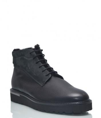 Кожаные ботинки Lab Milano 45005 на меху черные