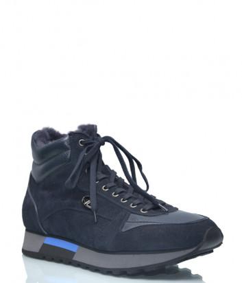Замшевые кроссовки Gianfranco Butteri 93532 на меху синие