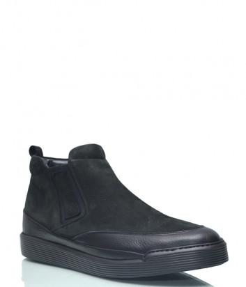 Замшевые ботинки Gianfranco Butteri 24303 на меху черные
