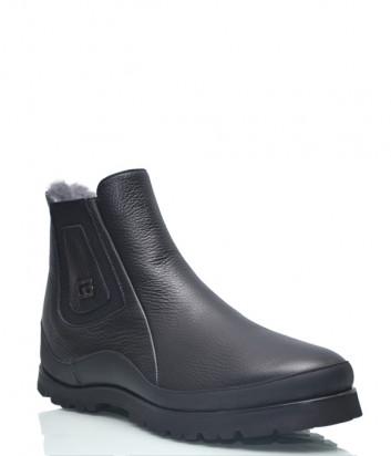 Кожаные ботинки Gianfranco Butteri 50904 на меху черные