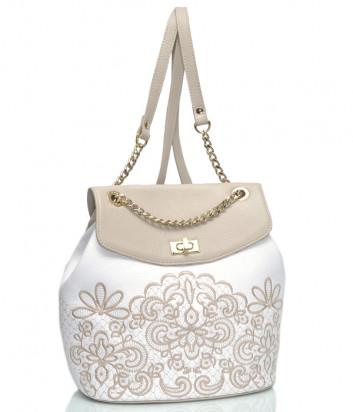 Кожаный рюкзак Marina Creazioni 4186 белый с бежевым узором
