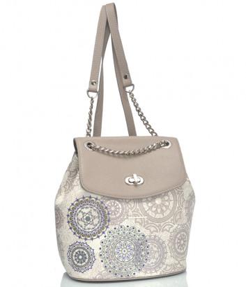 Кожаный рюкзак Marina Creazioni 4278 бежевый с узором