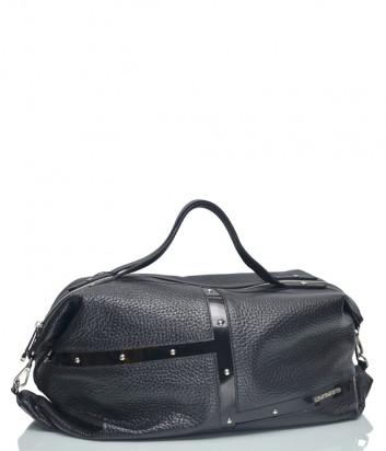 Кожаная сумка Di Gregorio 2062 с лаковыми вставками черная