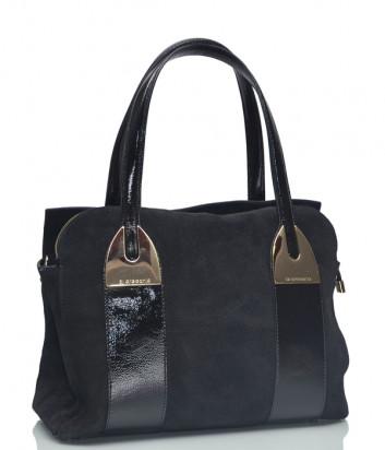 Замшевая сумка Di Gregorio 851 с лаковыми вставками черная