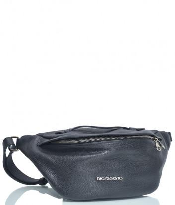 Кожаная поясная сумка Di Gregorio 8677 черная
