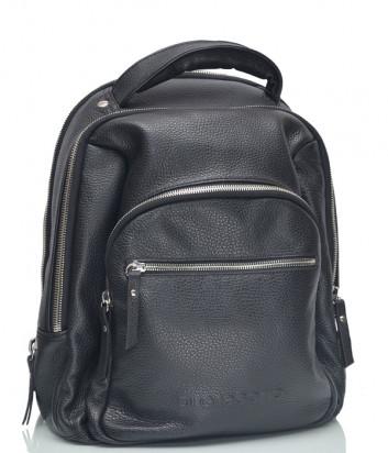 Кожаный рюкзак Di Gregorio 2747 с внешним карманом черный