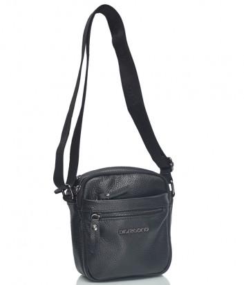 Кожаная сумка через плечо Di Gregorio 8707 с внешними карманами черная