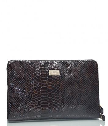 Темно-коричневая сумка-клатч Gilda Tonelli 2455 в коже с текстурой под змею