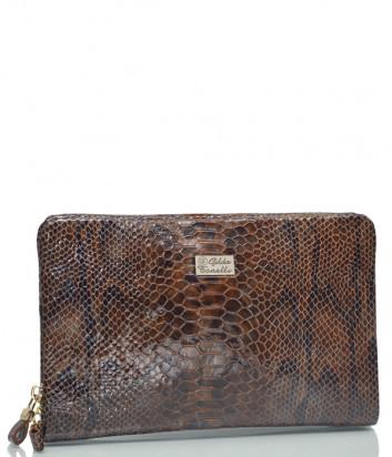 Коричневая сумка-клатч Gilda Tonelli 2455 в коже с текстурой под змею