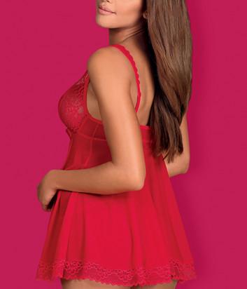 Комплект Obsessive Rougebelle babydoll красный