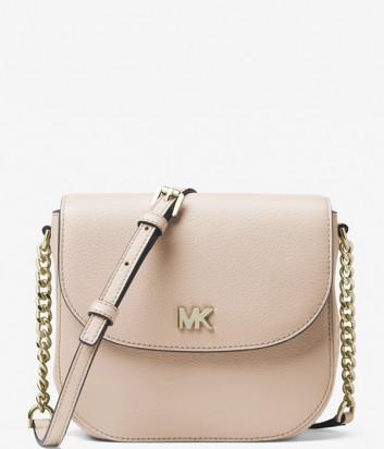 Кожаная сумка через плечо Michael Kors Mott пудровая с золотистой фурнитурой