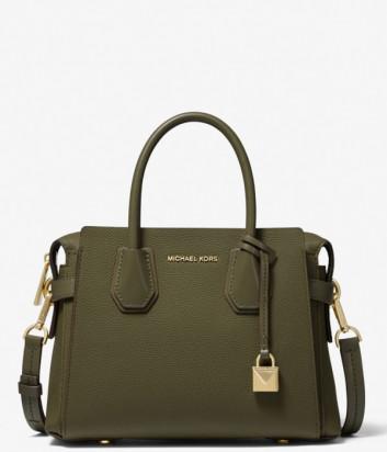 Кожаная сумка Michael Kors Mercer Small оливковая
