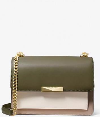 Кожаная сумка Michael Kors Jade Large Tri-Color с откидным клапаном бежево-оливковая